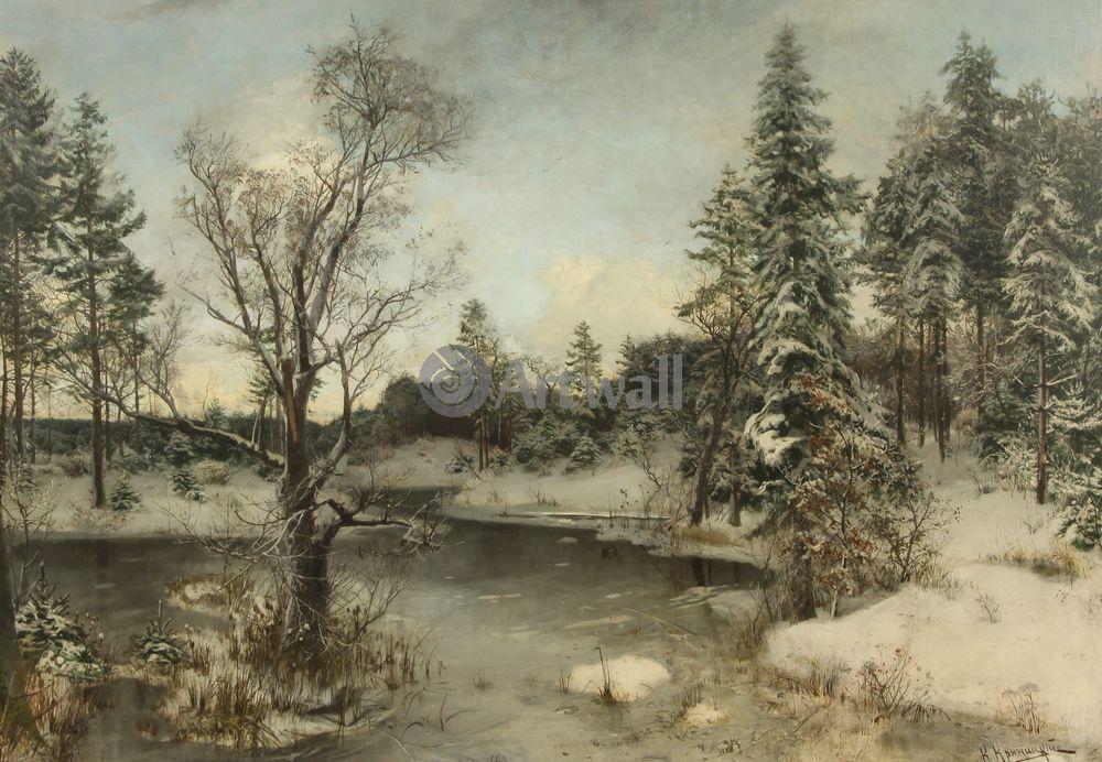 "Художники, картина ""Река зимой"", 29x20 см, на бумаге от Artwall"