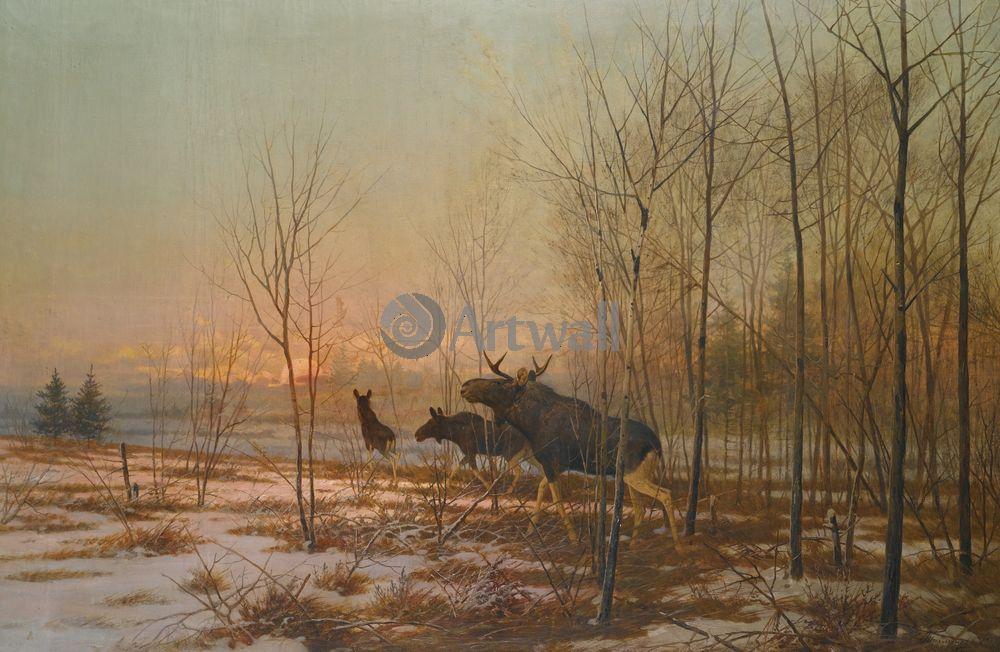 """Художники, картина """"Лоси"""", 31x20 см, на бумаге от Artwall"""