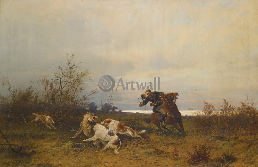 """Художники, картина """"Охота"""", 31x20 см, на бумаге от Artwall"""