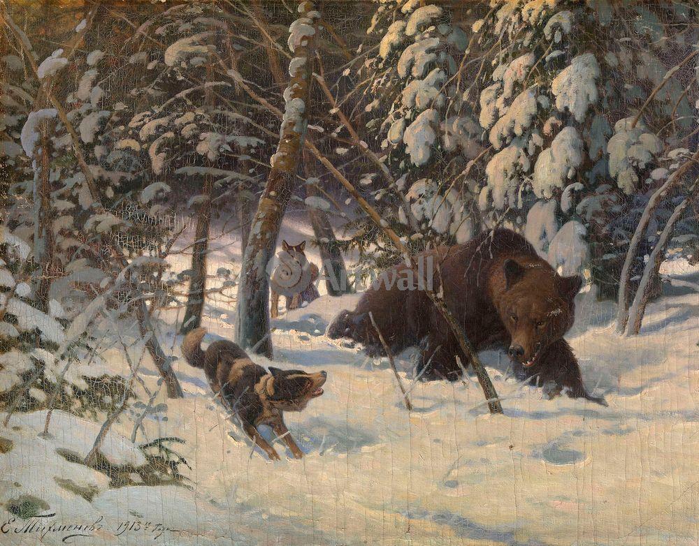 """Художники, картина """"Охота на медведя"""", 26x20 см, на бумаге от Artwall"""
