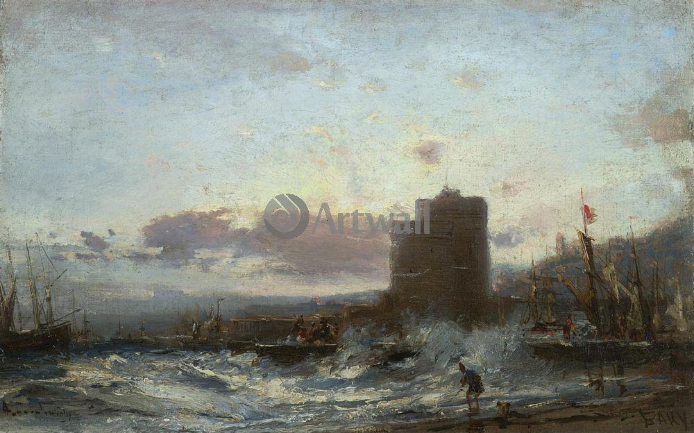 "Художники, картина ""Бакинская гавань"", 32x20 см, на бумаге от Artwall"