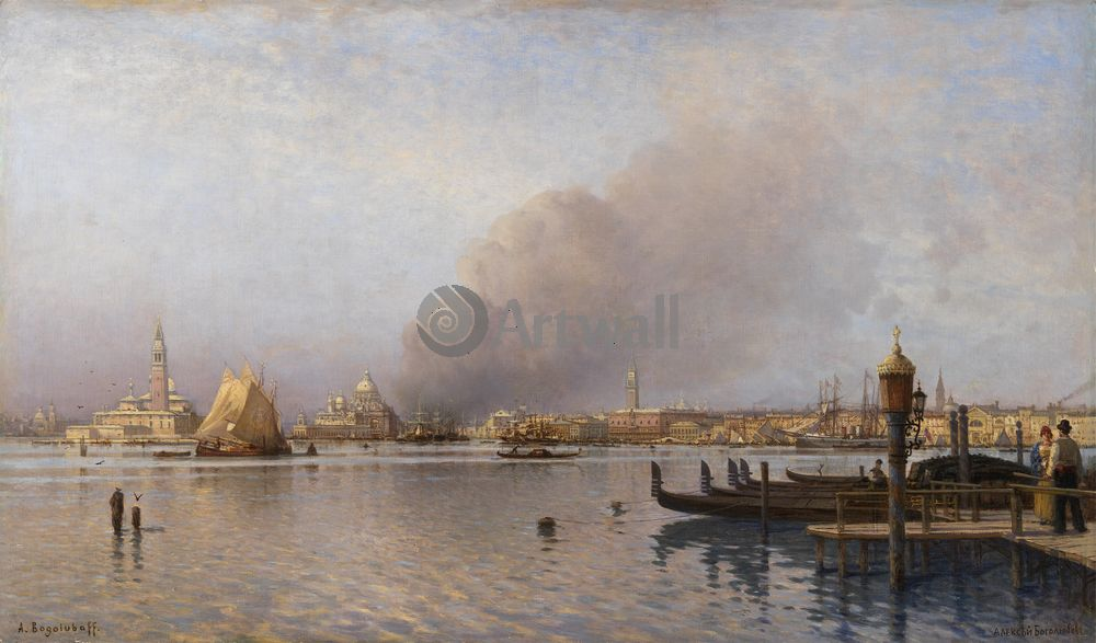 "Художники, картина ""Венецианская лагуна"", 34x20 см, на бумаге от Artwall"
