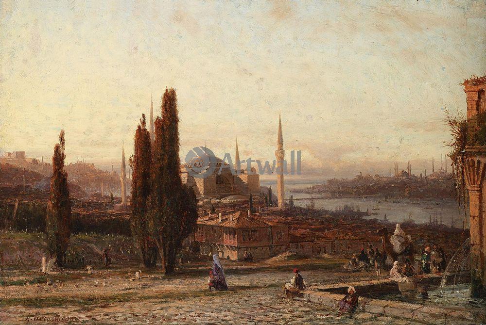 """Художники, картина """"Вид Константинополя"""", 30x20 см, на бумаге от Artwall"""