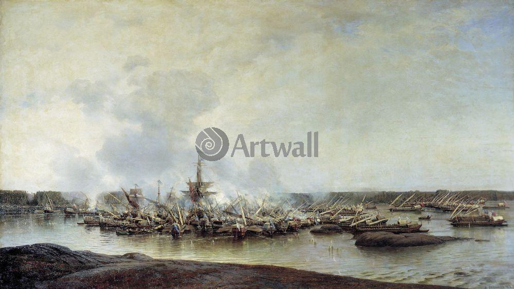 """Художники, картина """"Гангутская битва"""", 36x20 см, на бумаге от Artwall"""