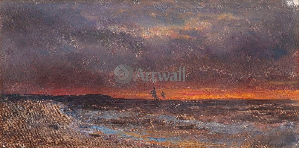 """Художники, картина """"Закат на море"""", 40x20 см, на бумаге от Artwall"""