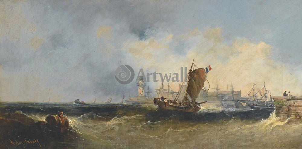 """Художники, картина """"Порт в Нормандии"""", 40x20 см, на бумаге от Artwall"""