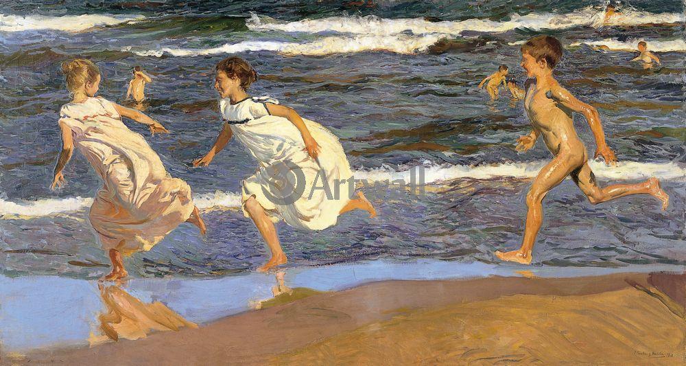 """Художники, картина """"Бег на пляже"""", 38x20 см, на бумаге от Artwall"""