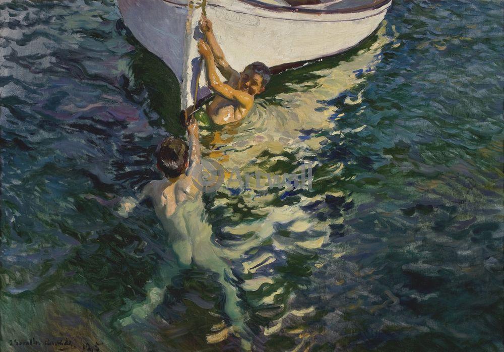 """Художники, картина """"Белая лодка"""", 29x20 см, на бумаге от Artwall"""