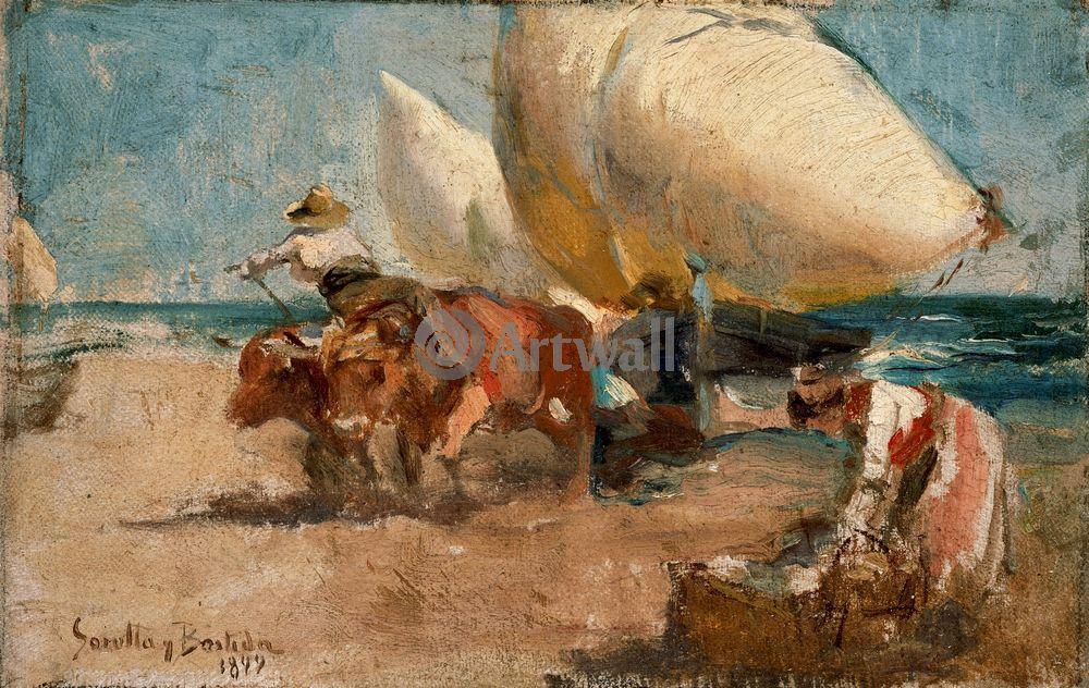 """Художники, картина """"Береговая сценка"""", 32x20 см, на бумаге от Artwall"""