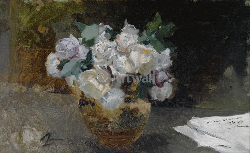 """Художники, картина """"Букет белых роз"""", 33x20 см, на бумаге от Artwall"""
