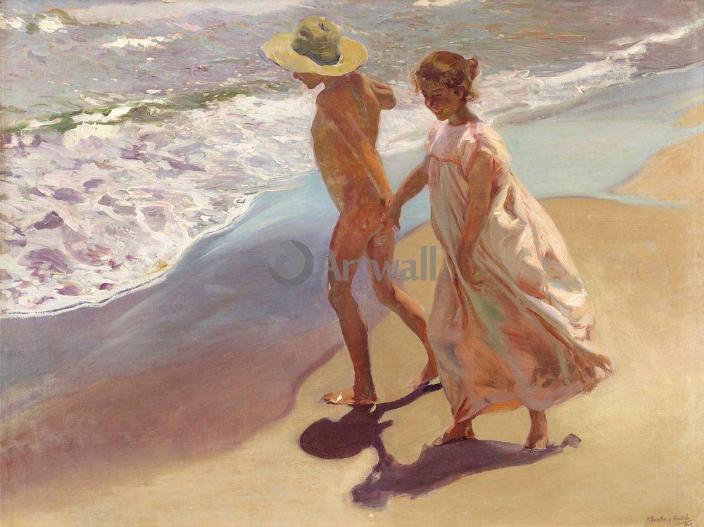 "Художники, картина ""В воду"", 27x20 см, на бумаге от Artwall"