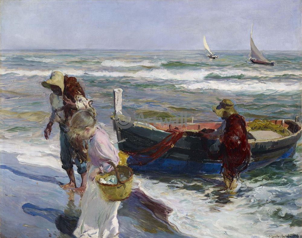 "Художники, картина ""Возвращение рыбаков"", 25x20 см, на бумаге от Artwall"