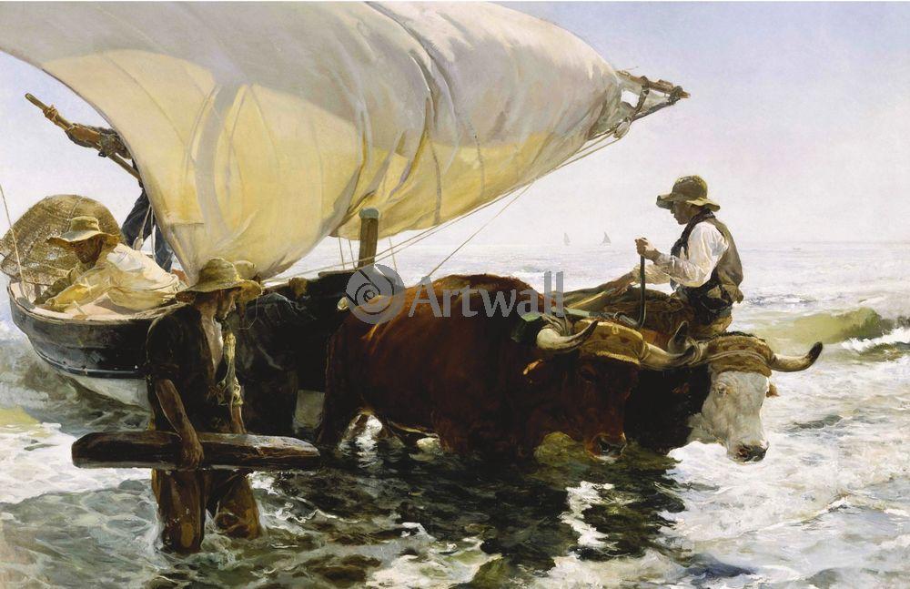 """Художники, картина """"Возвращение с рыбной ловли"""", 31x20 см, на бумаге от Artwall"""