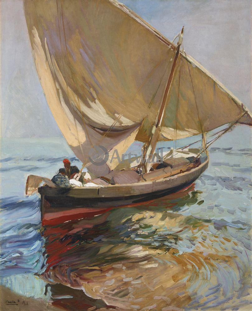 """Художники, картина """"Выход в море"""", 20x25 см, на бумаге от Artwall"""