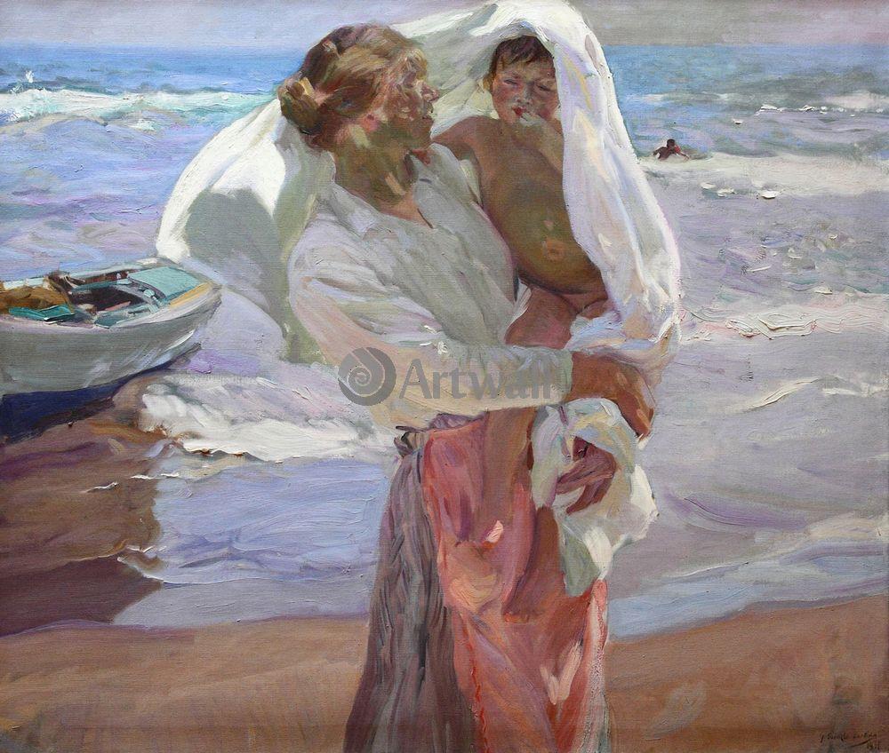 """Художники, картина """"Выходя из воды"""", 24x20 см, на бумаге от Artwall"""