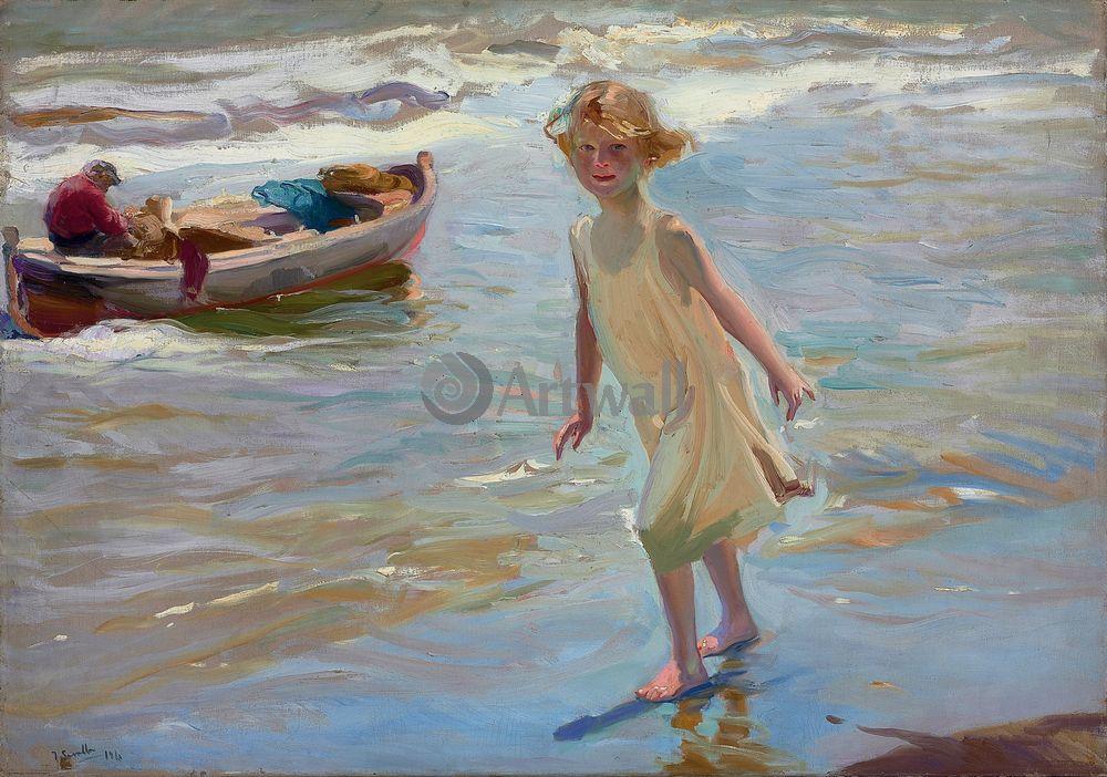 """Художники, картина """"Девочка на берегу, Валенсия"""", 28x20 см, на бумаге от Artwall"""