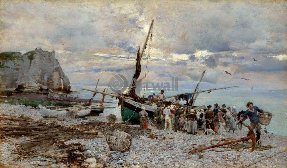 """Художники, картина """"Возвращение рыболовных судов, Этрета"""", 34x20 см, на бумаге от Artwall"""