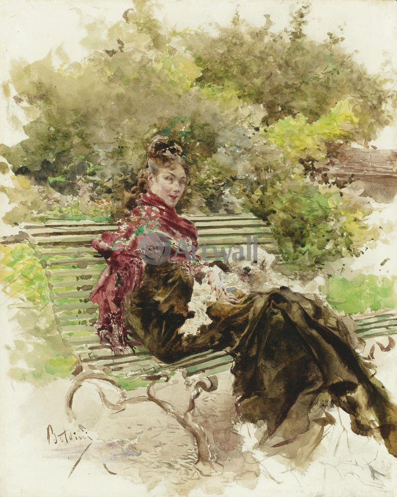 "Художники, картина ""В парке"", 20x25 см, на бумаге от Artwall"