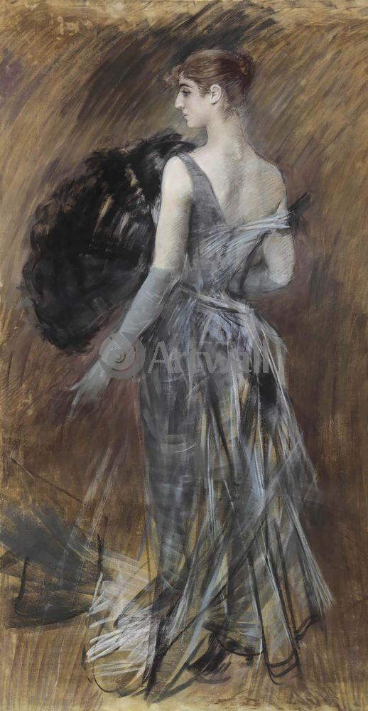 """Художники, картина """"Дама в вечернем платье"""", 20x39 см, на бумаге от Artwall"""