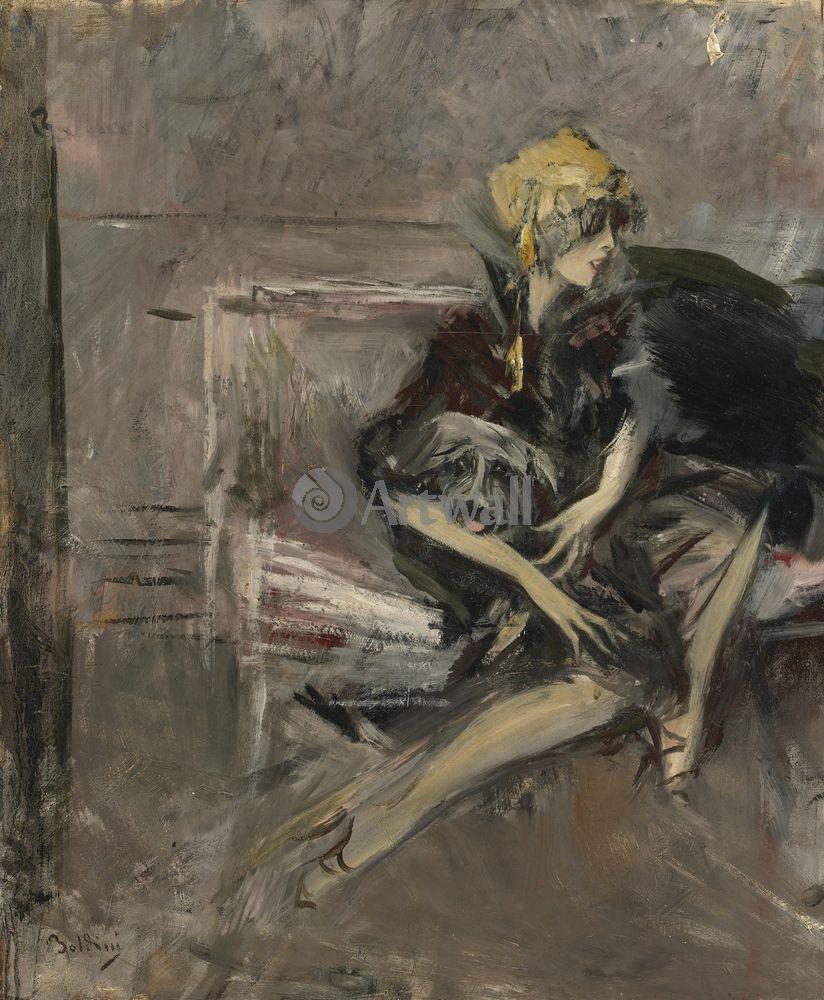 """Художники, картина """"Дама в желтой шляпе с собакой"""", 20x24 см, на бумаге от Artwall"""