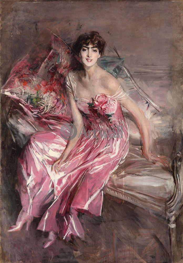 """Художники, картина """"Дама в розовом"""", 20x29 см, на бумаге от Artwall"""