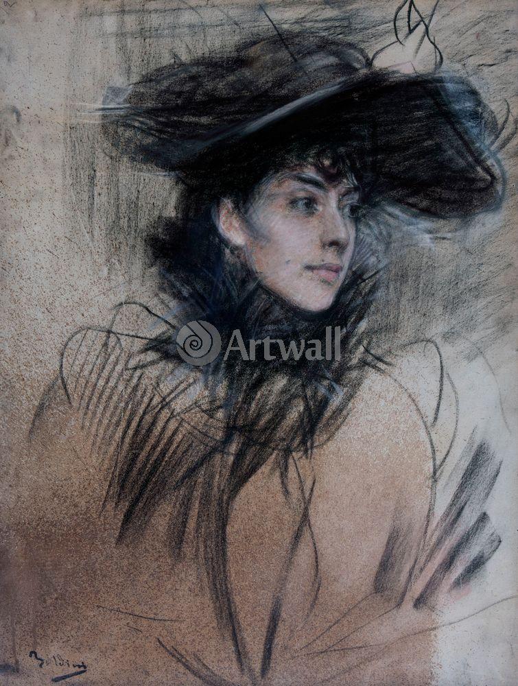 "Художники, картина ""Дама в шляпе"", 20x26 см, на бумаге от Artwall"