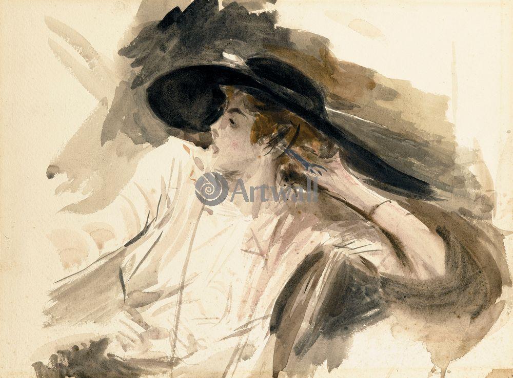"""Художники, картина """"Девушка в большой шляпе"""", 27x20 см, на бумаге от Artwall"""