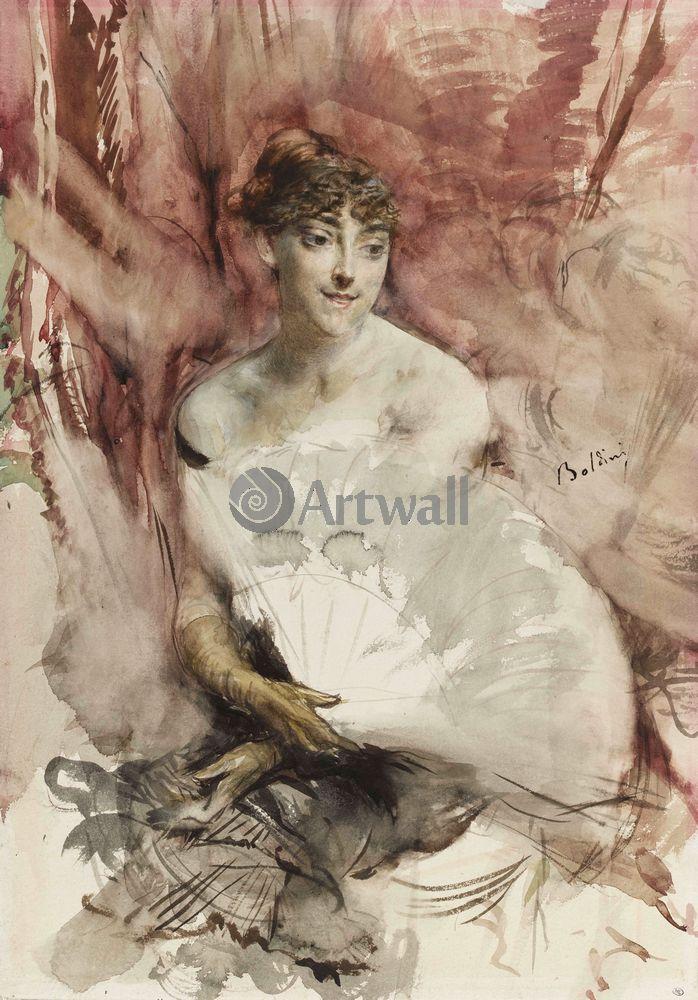 "Художники, картина ""Девушка с веером"", 20x29 см, на бумаге от Artwall"