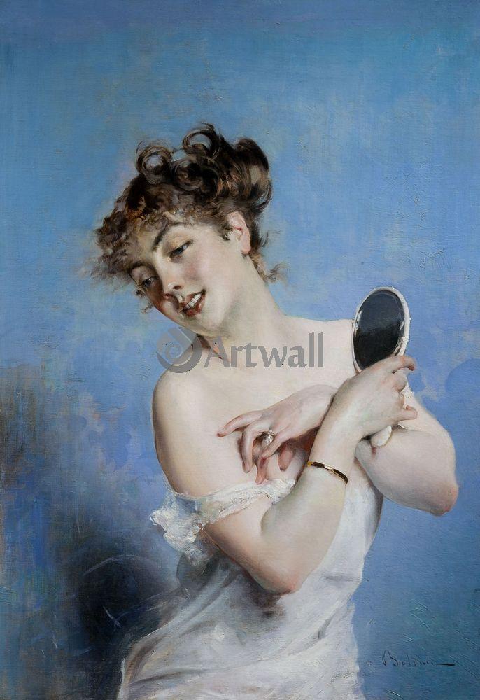 """Художники, картина """"Девушка с зеркалом"""", 20x29 см, на бумаге от Artwall"""