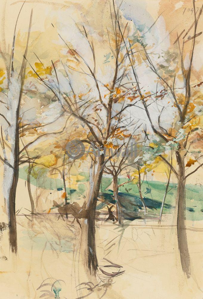 """Художники, картина """"Деревья в Булонском лесу"""", 20x29 см, на бумаге от Artwall"""