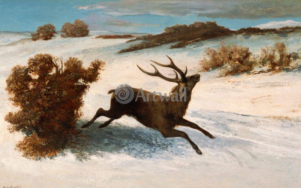 """Художники, картина """"Бегущий олень"""", 32x20 см, на бумаге от Artwall"""