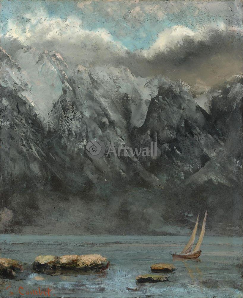 """Художники, картина """"Берега Женевского озера"""", 20x24 см, на бумаге от Artwall"""