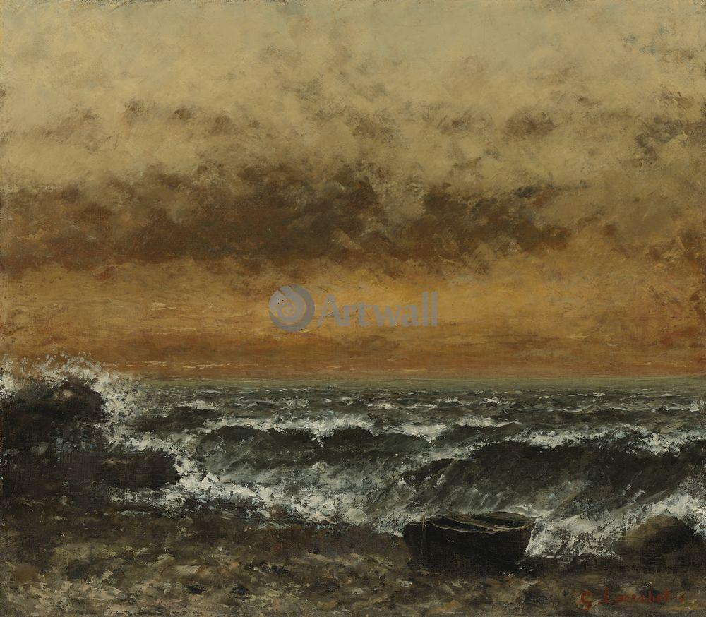 """Художники, картина """"Берег моря и лодка"""", 23x20 см, на бумаге от Artwall"""