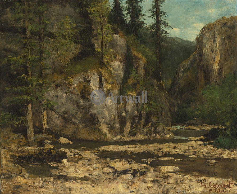 """Художники, картина """"Горный пейзаж с потоком"""", 24x20 см, на бумаге от Artwall"""