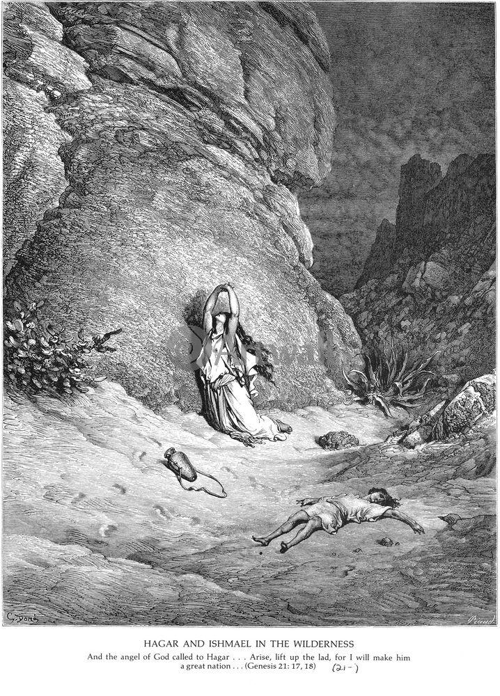 """Художники, картина """"Агарь и Измаил в пустыне, Ветхий Завет"""", 20x28 см, на бумаге от Artwall"""