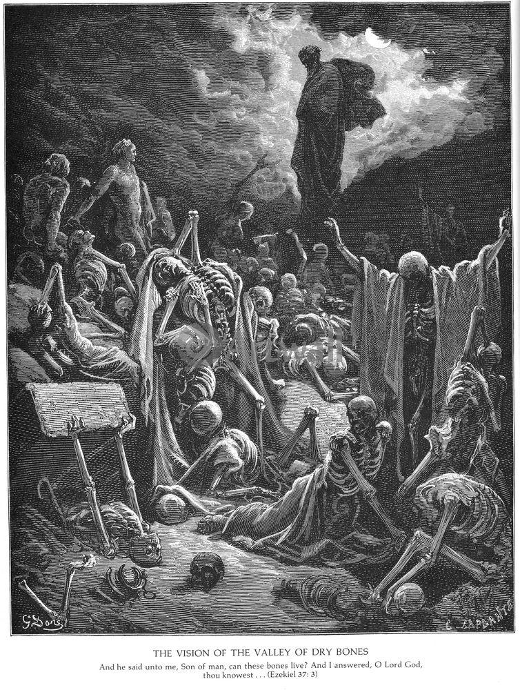 """Художники, картина """"Видение поля, полного сухих костей, Ветхий Завет"""", 20x27 см, на бумаге от Artwall"""