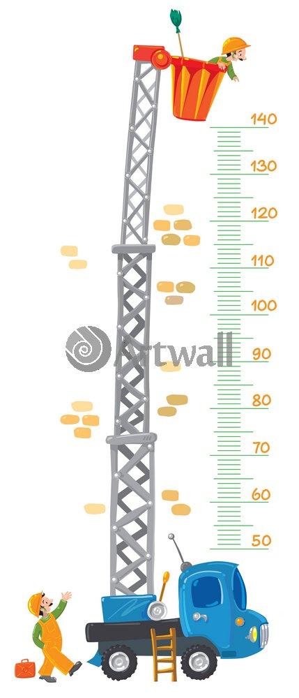 """Постер Оформление детской """"Детский ростомер «Машина с башней», 149x64 см, самоклеющаяся бумага"""" от Artwall"""