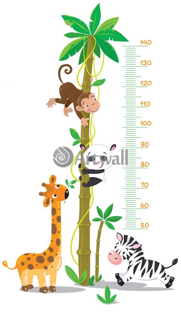 """Постер Оформление детской """"Детский ростомер «Африканские животные», 155x89 см, самоклеющаяся бумага"""" от Artwall"""