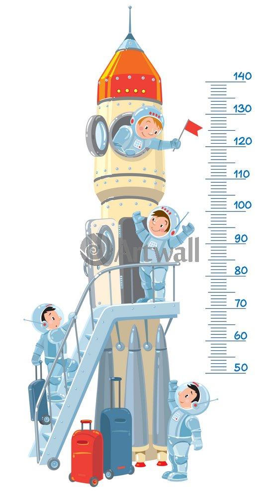 """Постер Оформление детской """"Детский ростомер «Космический корабль», 155x87 см, самоклеющаяся бумага"""" от Artwall"""