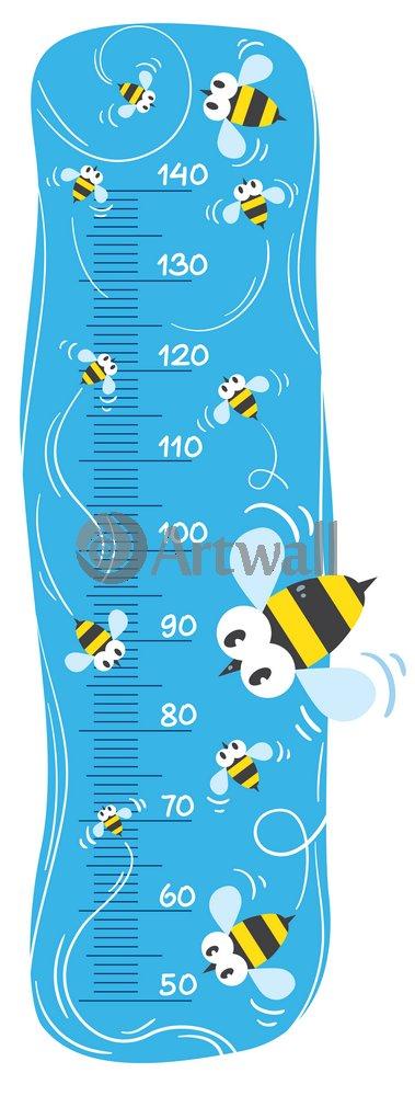 """Постер Оформление детской """"Детский ростомер «Пчелы», 122x46 см, самоклеющаяся бумага"""" от Artwall"""