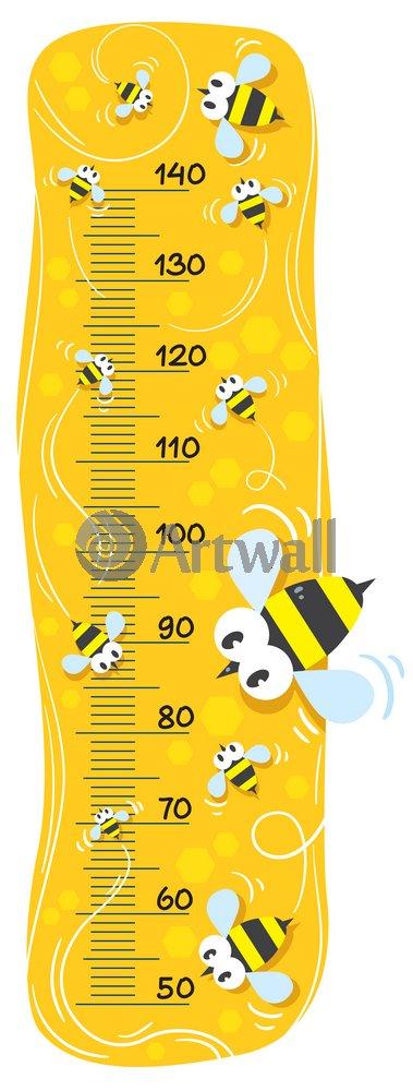 """Постер Оформление детской """"Детский ростомер «Пчелы», 120x45 см, самоклеющаяся бумага"""" от Artwall"""
