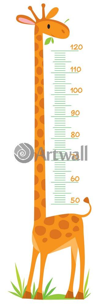 """Постер Оформление детской """"Детский ростомер «Жираф», 140x47 см, самоклеющаяся бумага"""" от Artwall"""