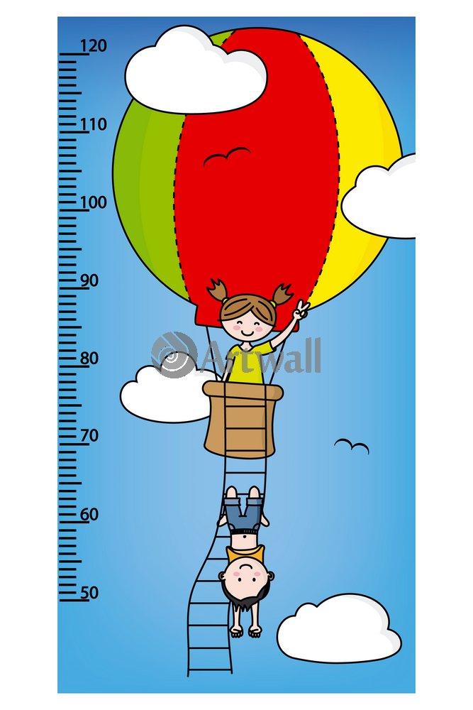 """Постер Оформление детской """"Детский ростомер «Воздушный шар», 90x60 см, самоклеющаяся бумага"""" от Artwall"""