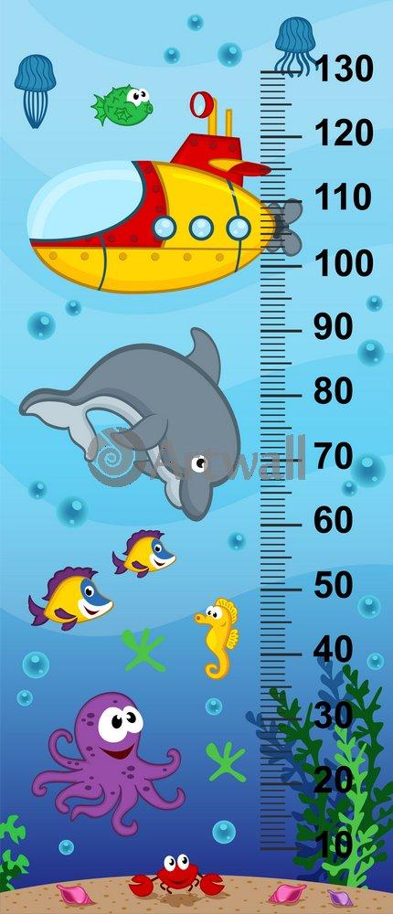 """Постер Оформление детской """"Детский ростомер «Подводный мир», 141x61 см, самоклеющаяся бумага"""" от Artwall"""