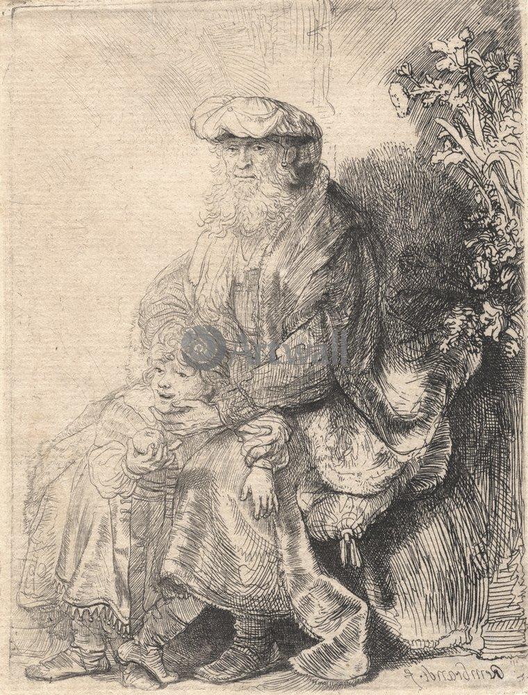 """Художники, картина """"Авраам, ласкающий Исаака"""", 20x26 см, на бумаге от Artwall"""