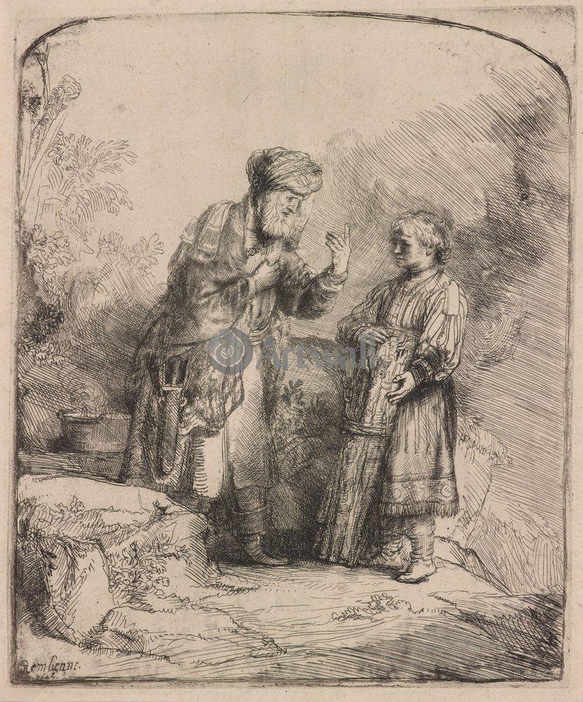"Художники, картина ""Авраам и Исаак"", 20x24 см, на бумаге от Artwall"