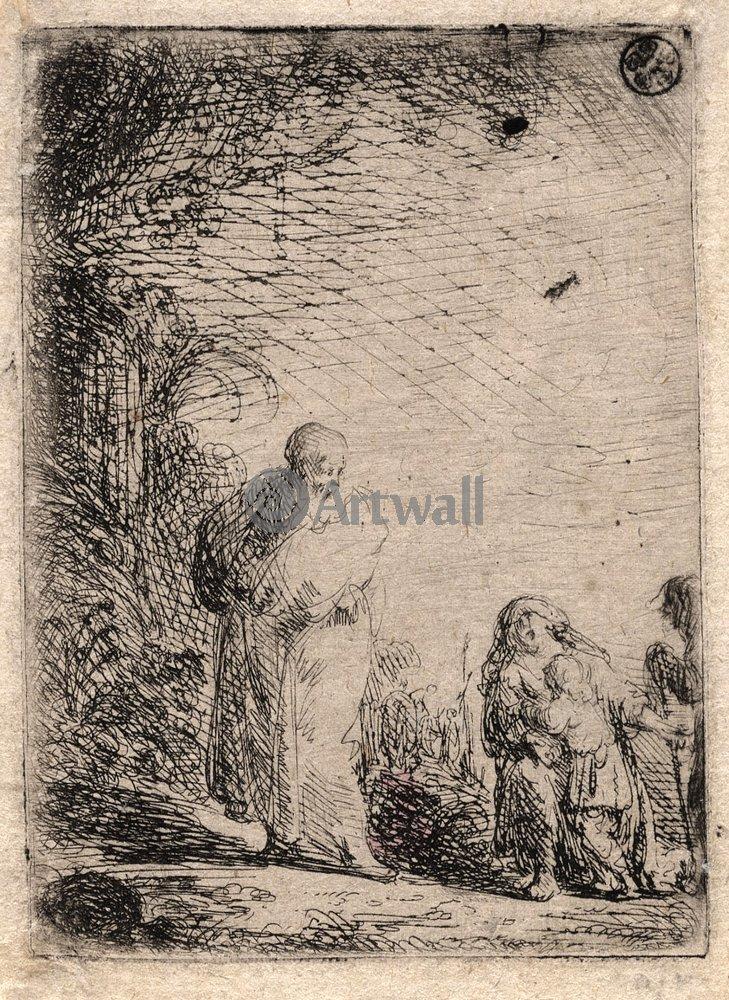 """Художники, картина """"Авраам прогоняет Агарь и Измаила"""", 20x27 см, на бумаге от Artwall"""