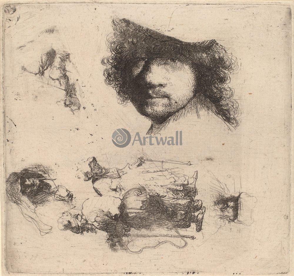 """Художники, картина """"Автопортрет и эскизы фигур"""", 21x20 см, на бумаге от Artwall"""