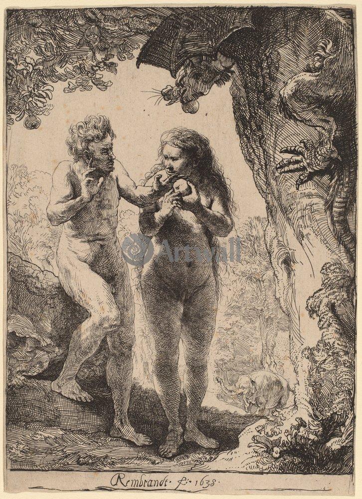 """Художники, картина """"Адам и Ева"""", 20x28 см, на бумаге от Artwall"""