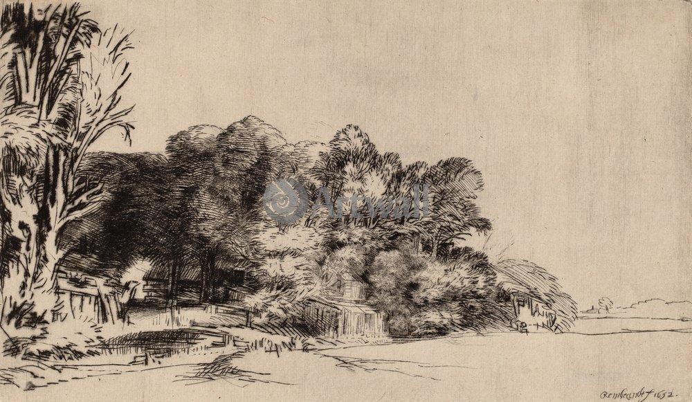 """Художники, картина """"Аллея с зарослями деревьев"""", 34x20 см, на бумаге от Artwall"""